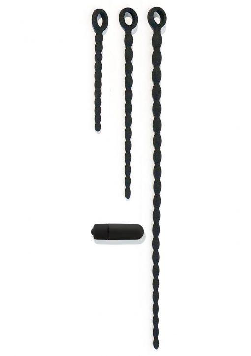 Bone Yard Silicone Urethra Trainer Kit Vibrating Sounds With Interchangeable Vibrating Bullet Black 3 Sizes Per Set