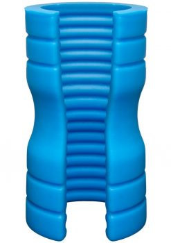 OptiMale Truskyn Silicone Stroker Ribbed Blue 4 Inch
