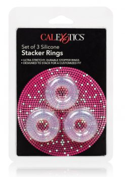 Silicone Stacker Rings Cockrings Clear 3 Each Per Set .75 Inch Diameter