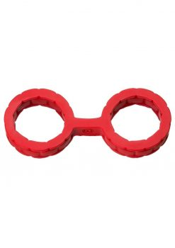 Japanese Style Bondage Silicone Cuffs Small Red 6.4 Inch