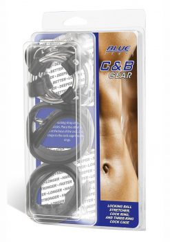 Blue Line C and B Gear Locking Ball Stretcher Cock Ring And Three-Ring Cock Cage Metal And Black