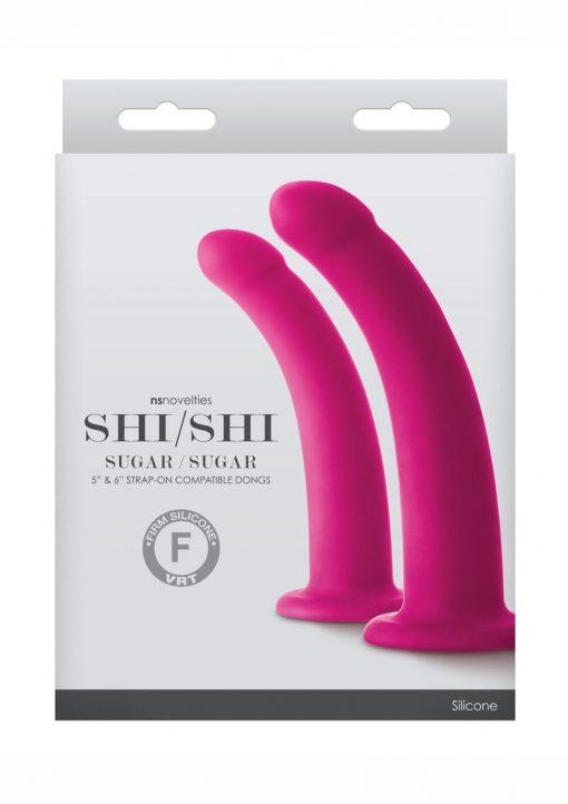 Shi/Shi Sugar/Sugar Pink 2 Piece Set Silicone Strap-On Compatible Dongs Set