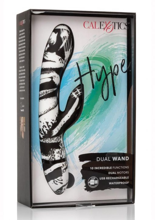 Hype Dual Wand USB Rechargeable Vibe Waterproof Black And White