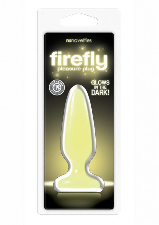 Firefly Pleasure Plug Small 4in Glow In The Dark Yellow Non-Vibrating Anal Plug