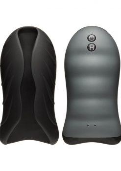 OptiMale Secondskyn Silicone Warming Stroker Vibrating USB Rechargeable Masturbator Black 5.5 Inch