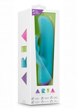 Aria Amplify USB Magnetic Rechargeable Silicone Rabbit Vibrator Waterproof Aqua 7.25 Inches