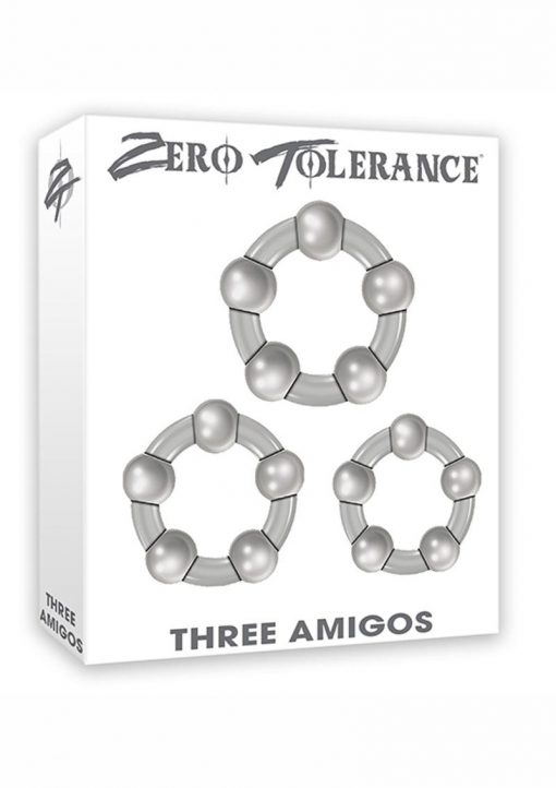 Zero Tolerance Three Amigos Beaded Cockrings Smoke 3 Each Per Set