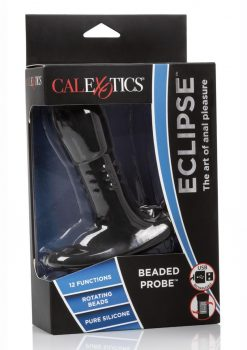 Eclipse Beaded Probe USB Rechargeable Silicone Anal Vibe Waterproof Black 5 Inches