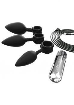 Bathmate Anal Training Plugs Vibe Kit 4piece Black Vibrating