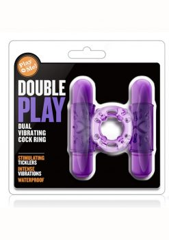 Play With Me Double Play Dual Vibrating Cock Ring - Purple