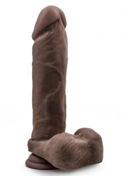 Au Naturel Dildo With Balls 9.5in - Chocolate