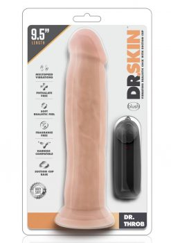 Dr Skin Dr Throb Dildo 9.5in Vibrating With Wired Remote - Vanilla