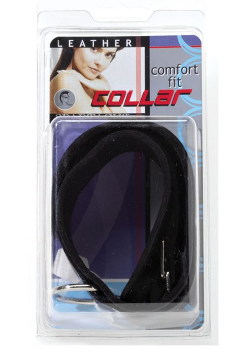 Double Strap Comfort Cut Leather Collar Black