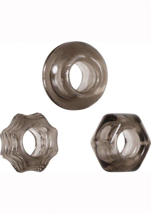 Zero Tolerance Triple Thick Cock Ring Set Rubber Waterproof Smoke 3 Shapes Per Set