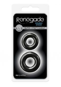 Renegade Double Stack Black Cock Ring Set Non-Vibrating