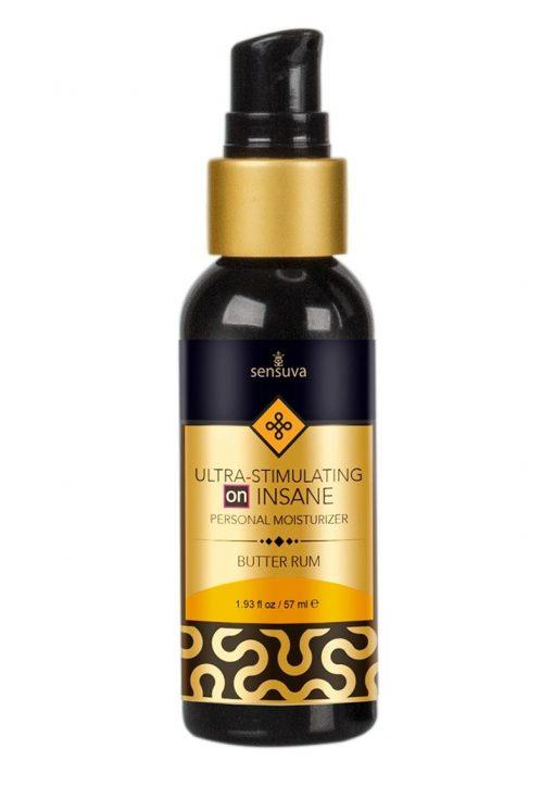 Sensuva Ultra Stimulating On Insane Hybrid Base Personal Moisturizer Butter Rum Flavored Lubricant 1.93oz
