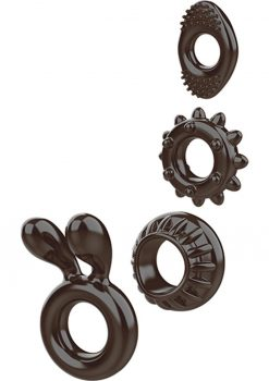 Ring My Bell Cock Ring Set of 4 Rubber Waterproof Black