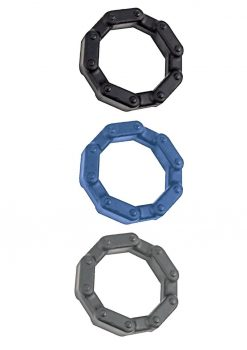 Anal-Ese Collection Chainlink Cockrings 3-Pack Silicone