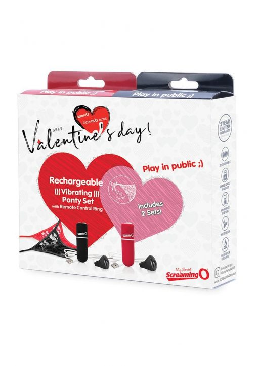 Sexy Valentine`s Day Combo Kits 2 USB Rechargeable Vibrating Panty Sets With Wireless Remote Control Rings Black And Red