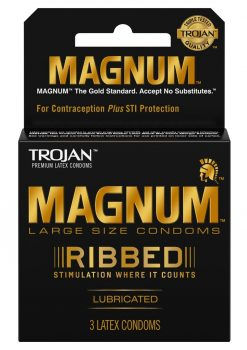 Trojan Magnum Ribbed Lubricated Latex Condoms 3-Pack Large