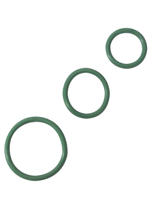 Rubber Cock Ring Set 3 Sizes Per Pack Green