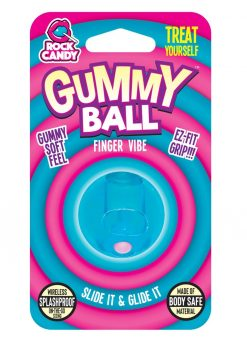 Rock Candy Gummy Ball Finger Vibe Splashproof  Blue