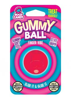 Rock Candy Gummy Ball Finger Vibe Splashproof  Red