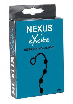 Nexus Excite Medium Silicone Anal Beads Silicone Medium Size 25mm  Black