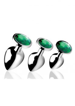 Booty Sparks Emerald Gem Anal Plug Set 3 Piece Kit Nickel Free