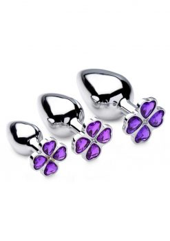 Booty Sparks Violet Flower Gem Plug Set 3 Piece Kit Nickel Free