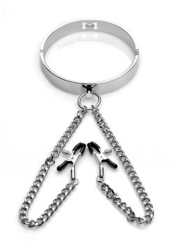 Mistress Isabella Sinclaire Slave Collar With Nipple Clamps Chrome