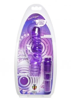 Trinity Vibes Royal Rocket Ribbed Rabbit Vibrator Clitoral Stimulation Waterproof Purple