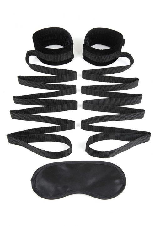 Lux Fetish Bondage Bed Strap 2pc. Playful Restraint System Black