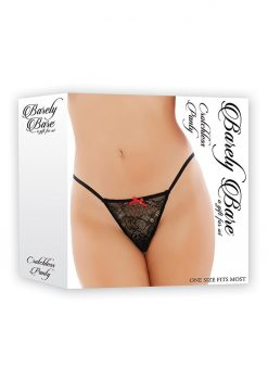 Barely Bare Crotchless Panty Black One Size