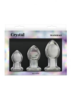 Crystal Premium Glass Trainer Kit Anal Plug Set - Clear
