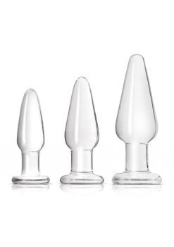 Crystal Tapered Trainer Kit Premium Glass Anal Plug Set - Clear