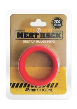 Bone Yard Meat Rack Beef Up Bulge Ring Silicone Cock Ring Red