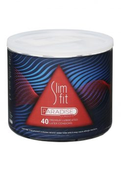 Slim Fit Paradise Lubricated Latex Condoms 40/bowl
