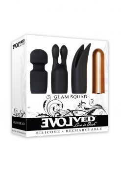 Glam Squad Silicone USB Rechargeable Bullet And 3 Sleeves Kit Waterproof Black And Copper