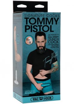 Signature Cock Tommy Pisto; Ultraskyn Dual Density Silicone Non Vibrating 7.5 Inch Dildo Flesh