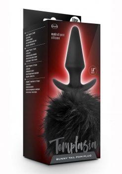 Temptasia Bunny Tail Pom Plug Anal Non Vibrating Silicone Black