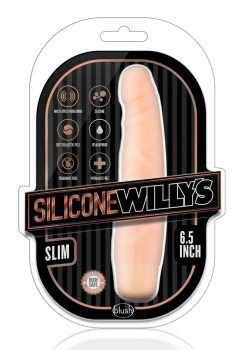 Silicone Willy`s Slim Vibrating Dildo Multi Speed Splashproof  6.5 Inch Flesh