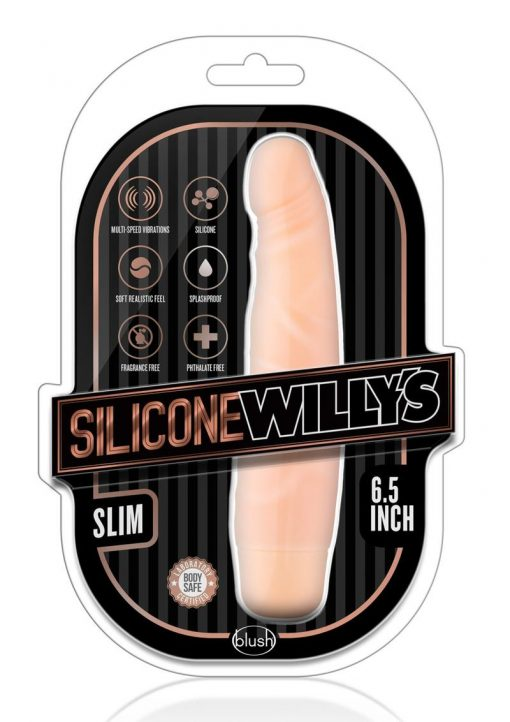 Silicone Willy`s Slim Vibrating Dildo Multi Speed Splashproof  6.5 Inch Flesh