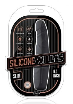 Silicone Willy`s Slim Vibrator Dildo Splashproof 6.5 Inch Black