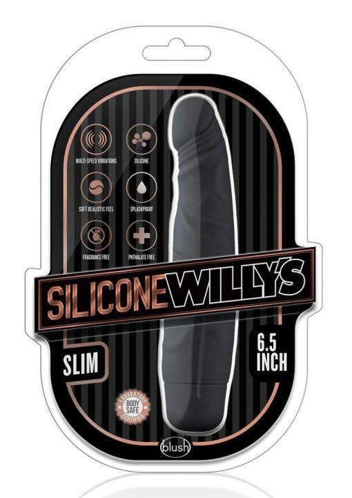 Silicone Willy`s Slim Vibrator Dildo Splashproof 6.5 Inch Black