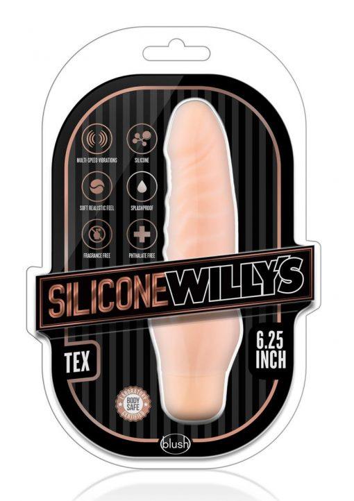 Silicone Willy`s Tex Vibrating Dildo Multi Speed Splashproof  6.25 Inch Flesh