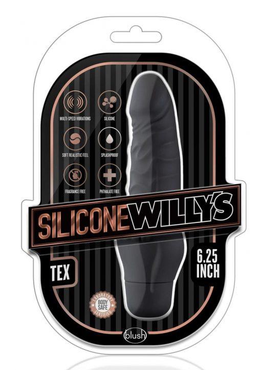 Silicone Willy`s Tex Vibrating Dildo Multi Speed Splashproof  6.25 Inch Black