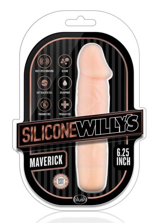 Silicone Willy`s Maverick Vibrating Dildo Multi Speed Splashproof  6.25 Inch Flesh