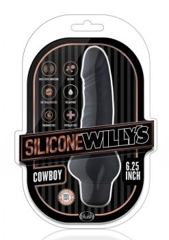 Silicone Willy`s Cowboy Vibrating Dildo Multi Speed Splashproof  6.25 Inch Black