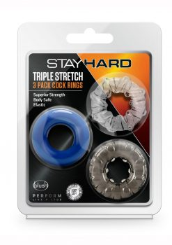 Stay Hard Triple Stretch 3 Pack Cock Rings Assorted Colors
